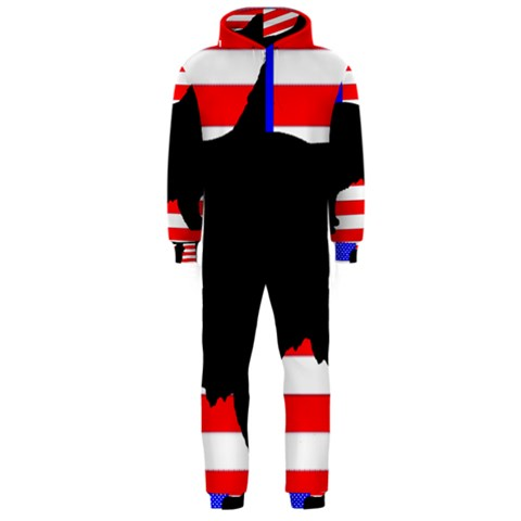 Australian Shepherd Silo Usa Flag Hooded Jumpsuit (Men)