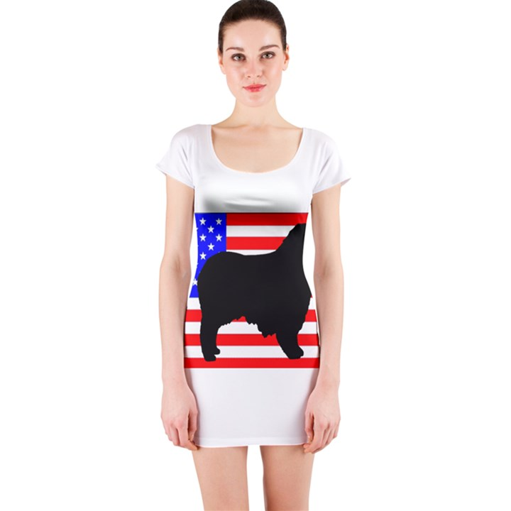 Australian Shepherd Silo Usa Flag Short Sleeve Bodycon Dress