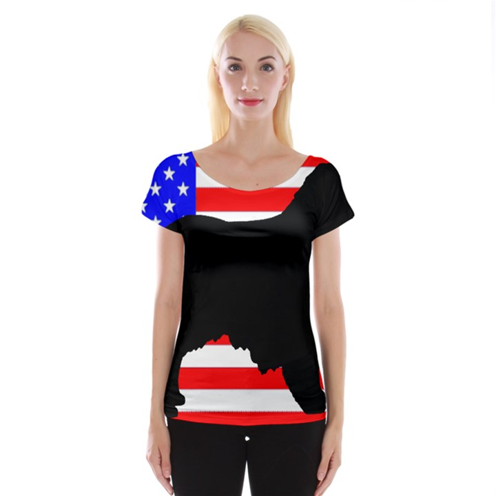 Australian Shepherd Silo Usa Flag Women s Cap Sleeve Top