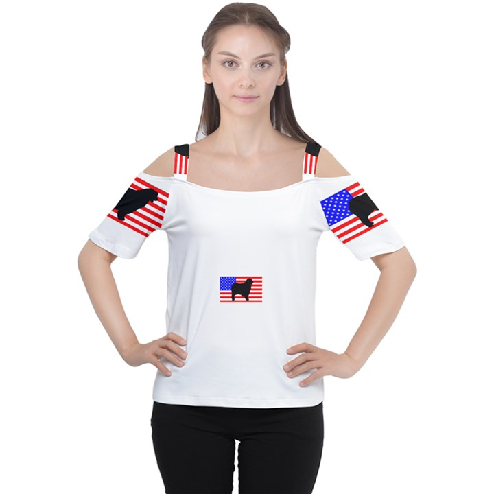Australian Shepherd Silo Usa Flag Women s Cutout Shoulder Tee