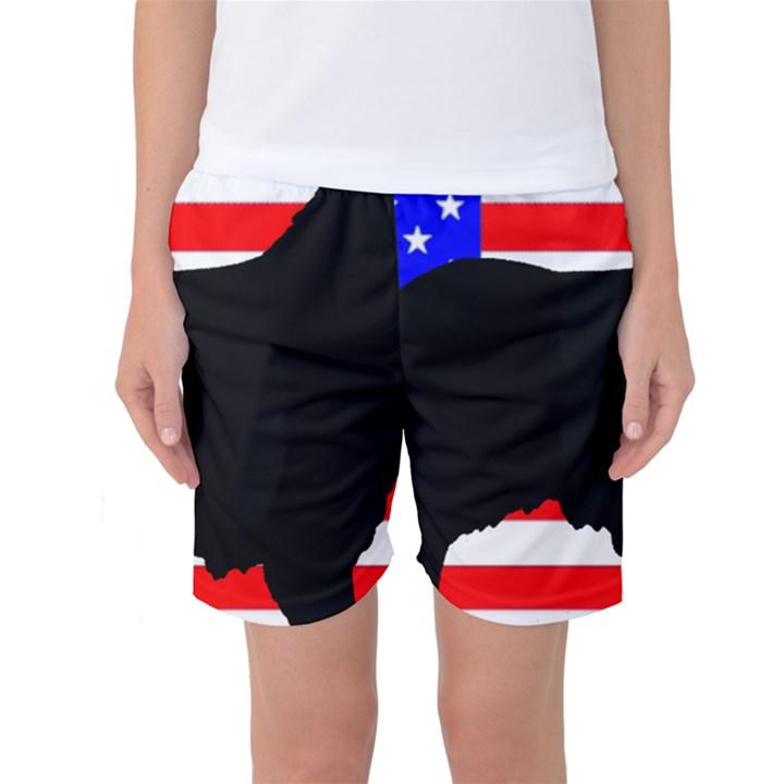 Australian Shepherd Silo Usa Flag Women s Basketball Shorts