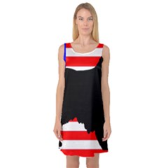 Australian Shepherd Silo Usa Flag Sleeveless Satin Nightdress
