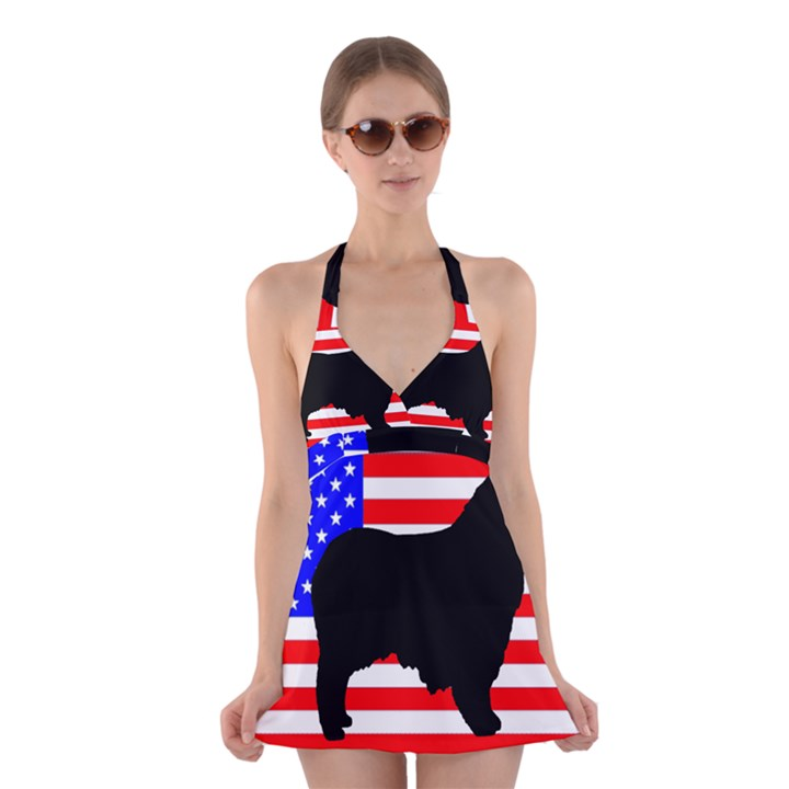 Australian Shepherd Silo Usa Flag Halter Swimsuit Dress