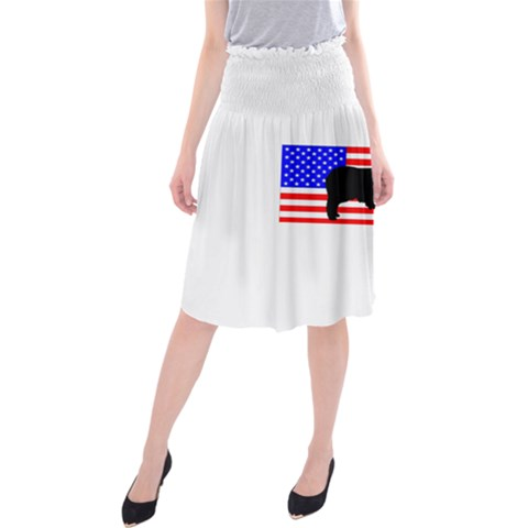 Australian Shepherd Silo Usa Flag Midi Beach Skirt
