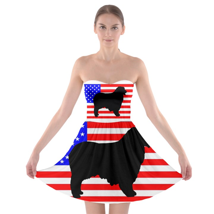 Australian Shepherd Silo Usa Flag Strapless Bra Top Dress