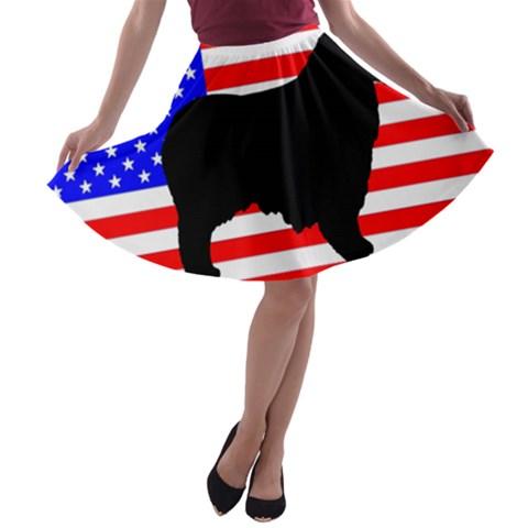 Australian Shepherd Silo Usa Flag A-line Skater Skirt