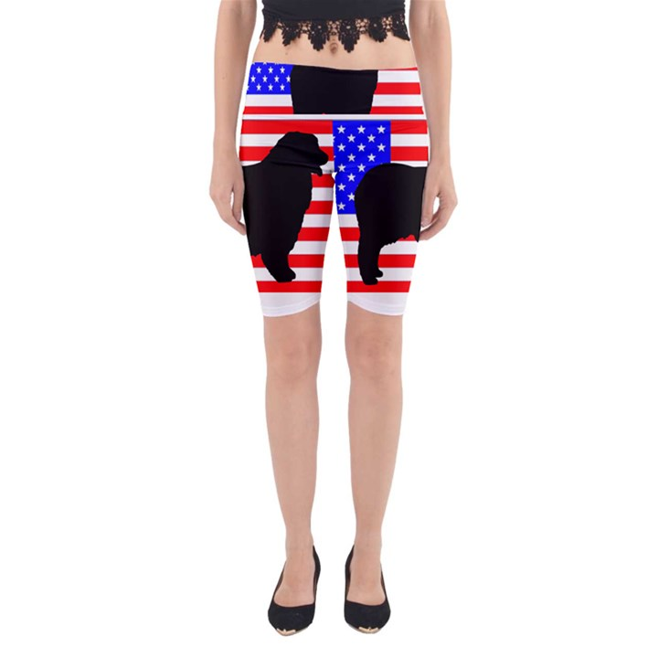 Australian Shepherd Silo Usa Flag Yoga Cropped Leggings