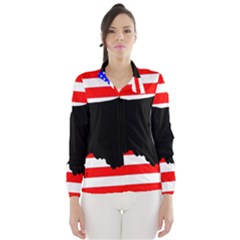 Australian Shepherd Silo Usa Flag Wind Breaker (Women)