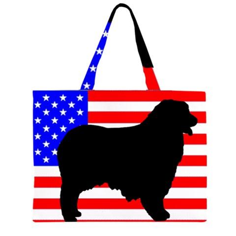 Australian Shepherd Silo Usa Flag Large Tote Bag