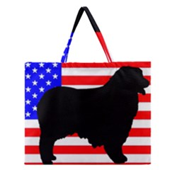 Australian Shepherd Silo Usa Flag Zipper Large Tote Bag