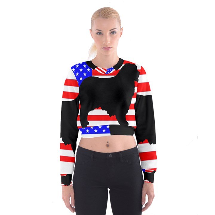 Australian Shepherd Silo Usa Flag Women s Cropped Sweatshirt