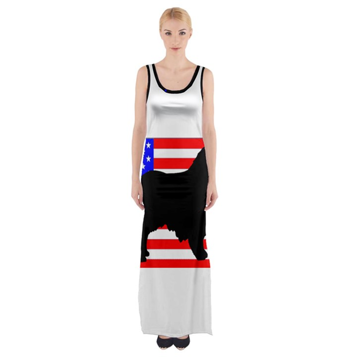 Australian Shepherd Silo Usa Flag Maxi Thigh Split Dress