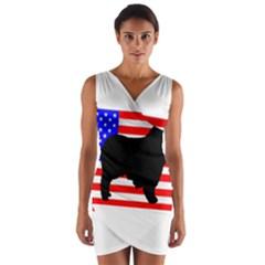 Australian Shepherd Silo Usa Flag Wrap Front Bodycon Dress