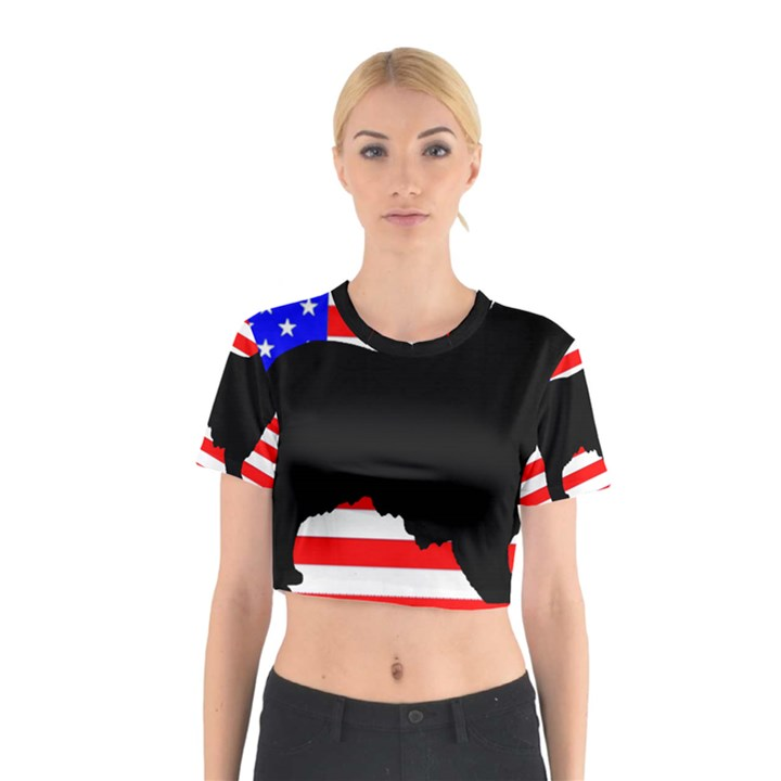 Australian Shepherd Silo Usa Flag Cotton Crop Top