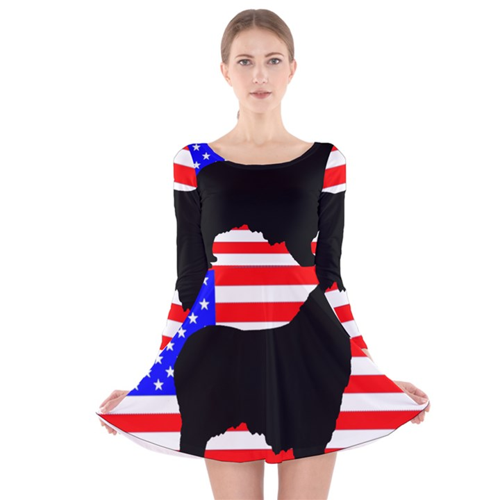 Australian Shepherd Silo Usa Flag Long Sleeve Velvet Skater Dress