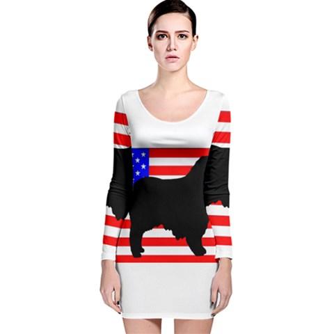 Australian Shepherd Silo Usa Flag Long Sleeve Velvet Bodycon Dress