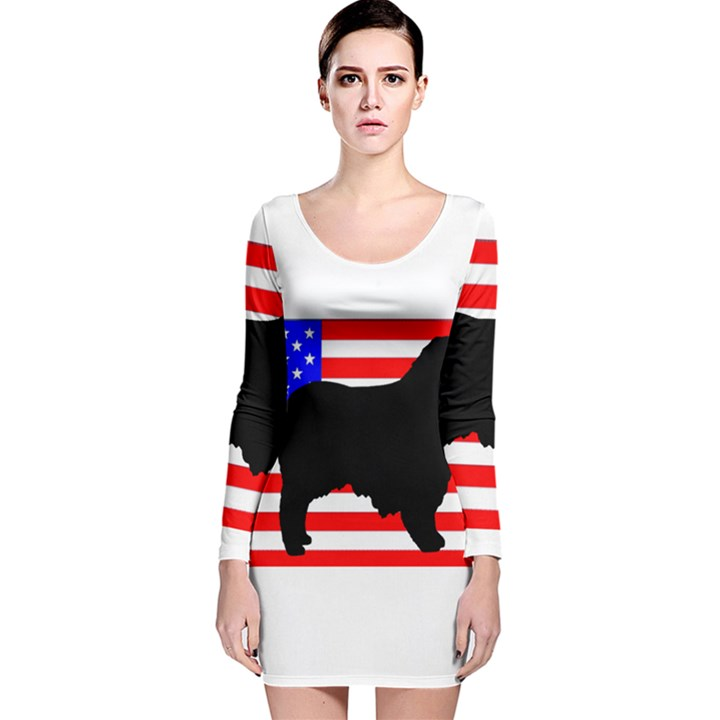 Australian Shepherd Silo Usa Flag Long Sleeve Velvet Bodycon Dress