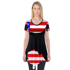 Australian Shepherd Silo Usa Flag Short Sleeve Tunic