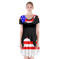 Australian Shepherd Silo Usa Flag Short Sleeve V-neck Flare Dress