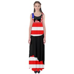 Australian Shepherd Silo Usa Flag Empire Waist Maxi Dress