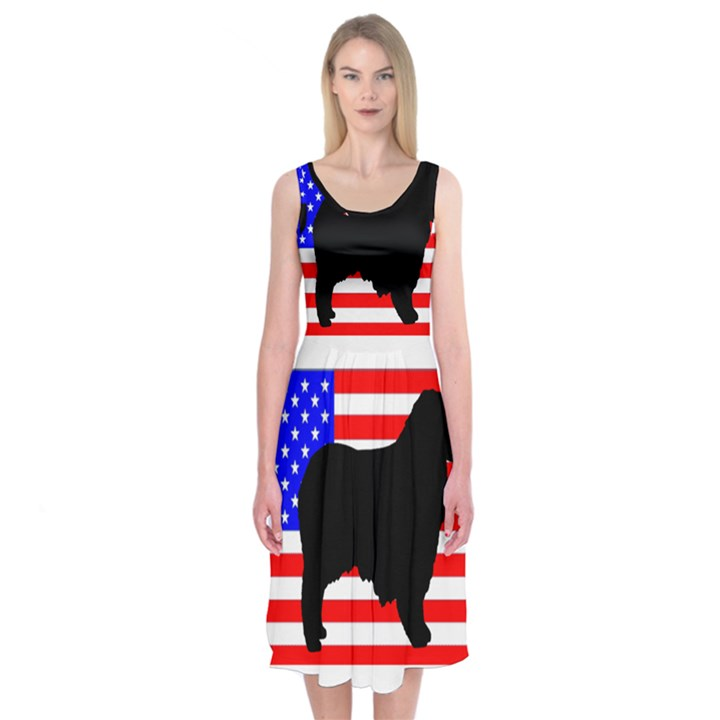 Australian Shepherd Silo Usa Flag Midi Sleeveless Dress
