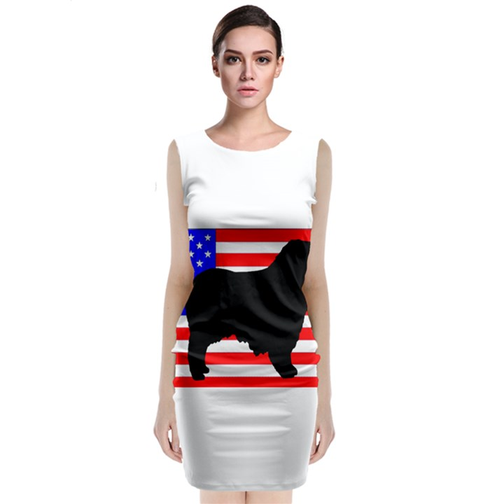 Australian Shepherd Silo Usa Flag Classic Sleeveless Midi Dress