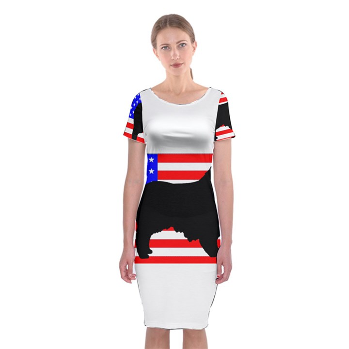 Australian Shepherd Silo Usa Flag Classic Short Sleeve Midi Dress
