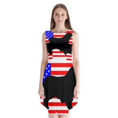 Australian Shepherd Silo Usa Flag Sleeveless Chiffon Dress