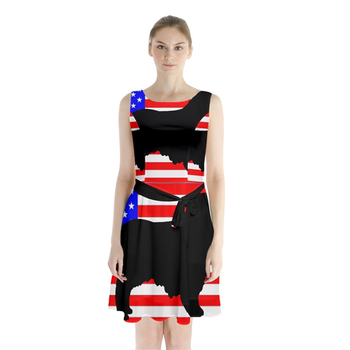 Australian Shepherd Silo Usa Flag Sleeveless Chiffon Waist Tie Dress