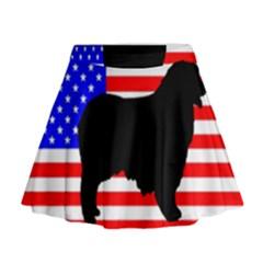 Australian Shepherd Silo Usa Flag Mini Flare Skirt