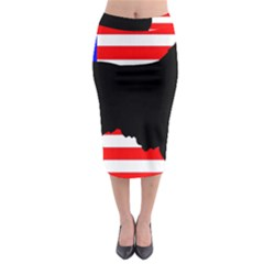 Australian Shepherd Silo Usa Flag Midi Pencil Skirt