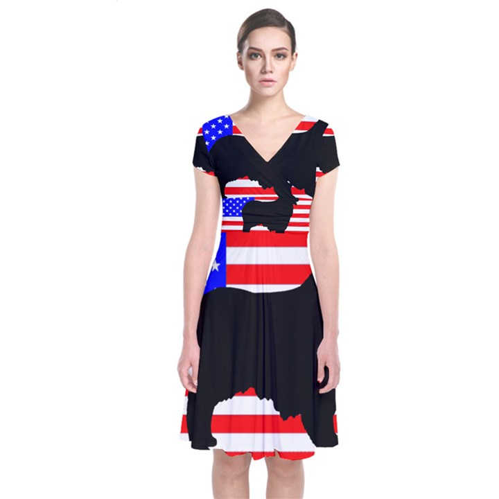 Australian Shepherd Silo Usa Flag Short Sleeve Front Wrap Dress