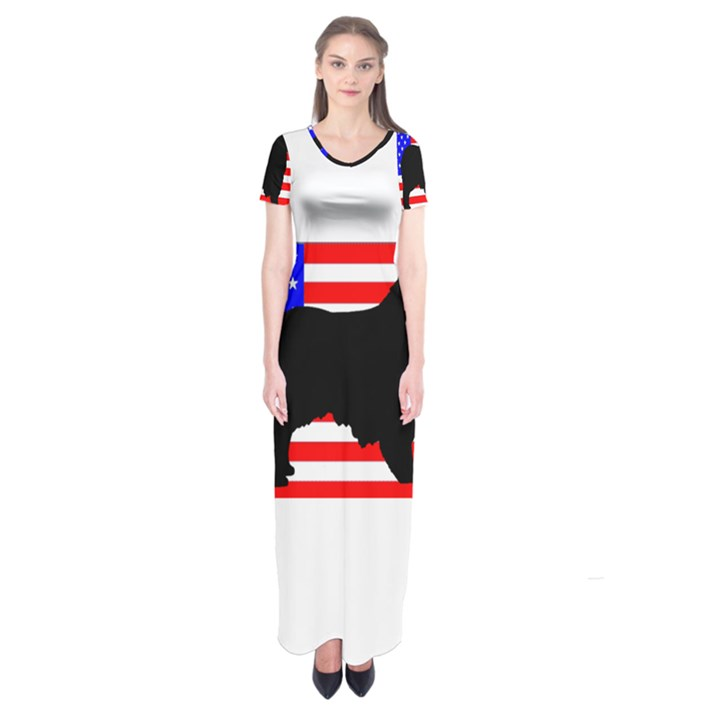 Australian Shepherd Silo Usa Flag Short Sleeve Maxi Dress