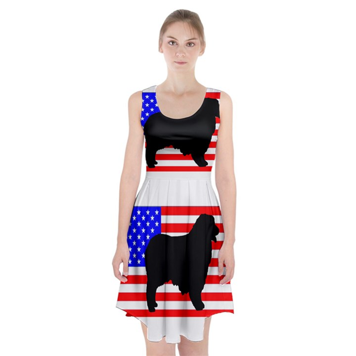 Australian Shepherd Silo Usa Flag Racerback Midi Dress
