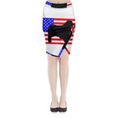 Australian Shepherd Silo Usa Flag Midi Wrap Pencil Skirt