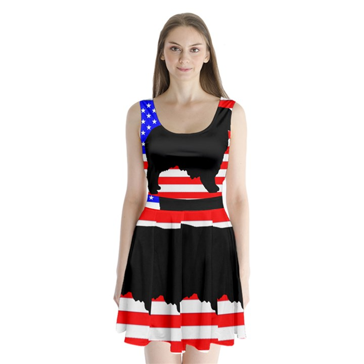 Australian Shepherd Silo Usa Flag Split Back Mini Dress