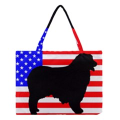 Australian Shepherd Silo Usa Flag Medium Tote Bag