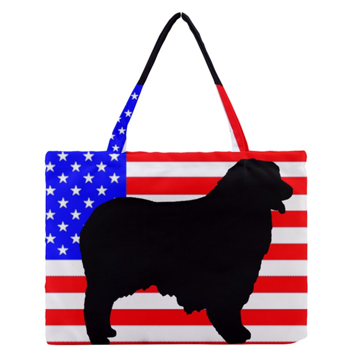 Australian Shepherd Silo Usa Flag Medium Zipper Tote Bag