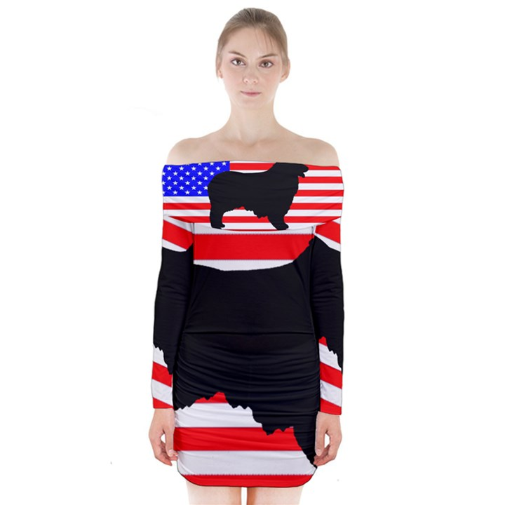 Australian Shepherd Silo Usa Flag Long Sleeve Off Shoulder Dress