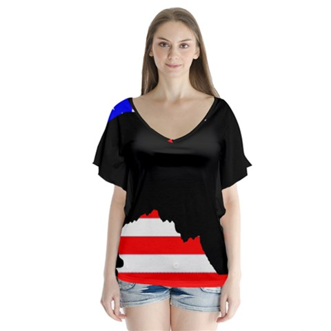 Australian Shepherd Silo Usa Flag Flutter Sleeve Top