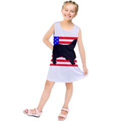 Australian Shepherd Silo Usa Flag Kids  Tunic Dress
