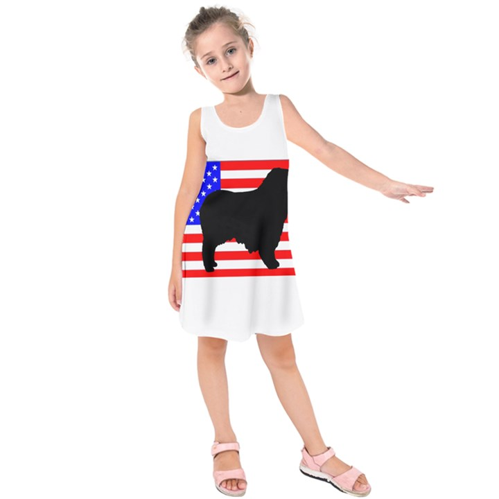 Australian Shepherd Silo Usa Flag Kids  Sleeveless Dress