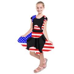Australian Shepherd Silo Usa Flag Kids  Short Sleeve Dress