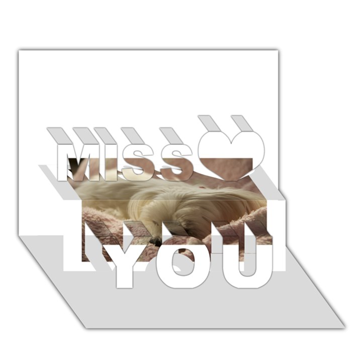 Maltese Sleeping Miss You 3D Greeting Card (7x5)
