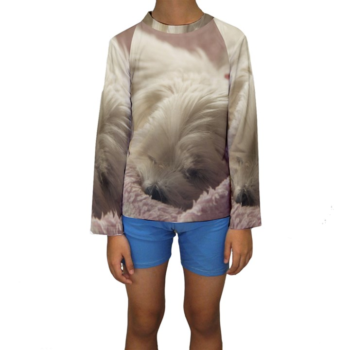 Maltese Sleeping Kids  Long Sleeve Swimwear