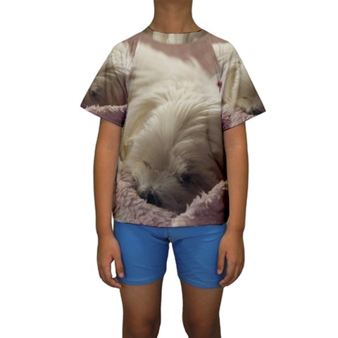 Maltese Sleeping Kids  Short Sleeve Swimwear