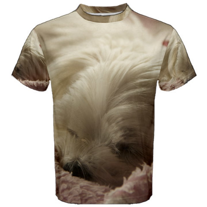 Maltese Sleeping Men s Cotton Tee
