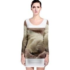 Maltese Sleeping Long Sleeve Bodycon Dress