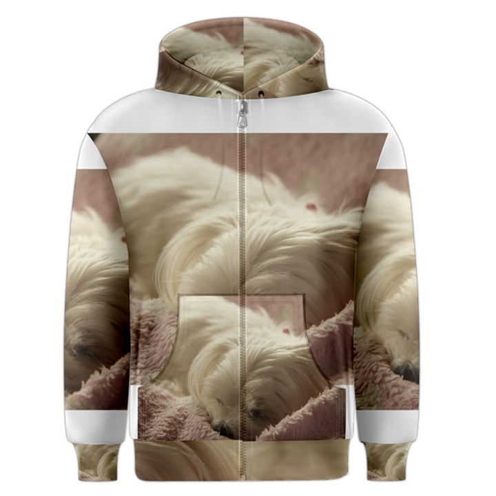 Maltese Sleeping Men s Zipper Hoodie