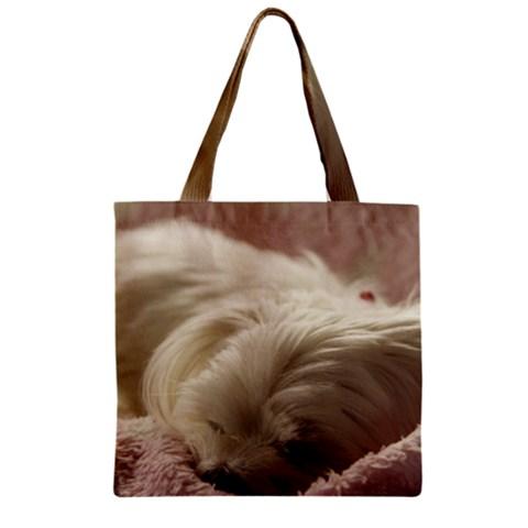 Maltese Sleeping Zipper Grocery Tote Bag